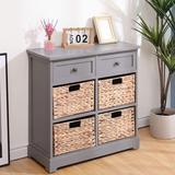 Winston Porter Storage Cabinet Retro Style Storage Chest w/ 2 Wood Drawers in Gray, Size 28.0 H x 12.0 W x 27.0 D in | Wayfair
