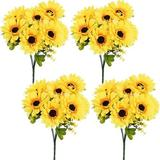 Primrue Artificial Sunflower 4 Bouquets, 7 Flowers Each, A Total Of 28Large Flowers, Suitable For Wedding Banquet Home Decoration | Wayfair in Yellow