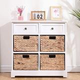 Winston Porter Storage Cabinet Retro Style Storage Chest w/ 2 Wood Drawers in White, Size 28.0 H x 12.0 W x 27.0 D in | Wayfair