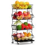 Rebrilliant Stackable Vegetable Organizer, Rolling Fruit Basket For Kitchen, Detachable Fruit Basket Storage Organizer w/ Wheels For Bathroom