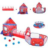 wilwolfer 3pc Rocket Ship Play Tent w/ Ball Pit Crawl Tunnel For Toddlers Girls Boys Indoor Outdoor Polyester in Red | Wayfair KP-SD-042