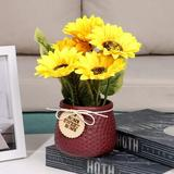Primrue Artificial Sunflower & Ceramic Potted Plants False Flower Arrangement Decoration Home Garden Decoration Wedding Decor Or Office (Red)