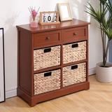 Winston Porter Storage Cabinet Retro Style Storage Chest w/ 2 Wood Drawers in Brown, Size 28.0 H x 12.0 W x 27.0 D in | Wayfair