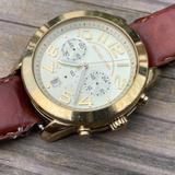 Michael Kors Accessories   Michael Kors Watch Multifunction Analog Gold Tone Men Wristwatch Leather Strap   Color: Brown/Gold   Size: Os