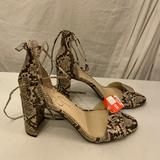 Jessica Simpson Shoes | Jessica Simpson Brown & Ivory Leather Snakeskin Print Sandals With Ankle Ties 9 | Color: Brown/Cream | Size: 9