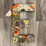 Anthropologie Wall Decor | Anthropologie Swarm Hand Painted Letter Monogram E Wall Decor | Color: Green/Orange | Size: 17x10