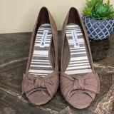 American Eagle Outfitters Shoes   American Eagle {Size 9} Pink Peep Toe Cork Wedge High Heel Shoes Very Nice!   Color: Brown   Size: 9