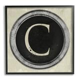 Stupell Industries Letter C Initial Typewriter Shape Vintage Key XL Stretched Canvas Wall Art By Daphne Polselli Wood in Brown | Wayfair