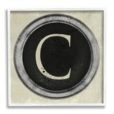 Stupell Industries Letter C Initial Typewriter Shape Vintage Key XL Stretched Canvas Wall Art By Daphne Polselli Wood in Brown   Wayfair