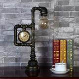 """Williston Forge 17"""" Retro Industrial Water Pipe Table Lamp Steampunk LED Metal Table Lamp w/ Clock Desk Decoration (Bronze) Metal in Brown 