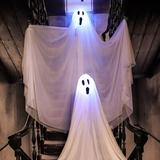 The Holiday Aisle® 4.17-Ft. Ghost Stakes Set Of 2 Waterproof, Indoor/Outdoor Halloween Decoration, LED Multi-Color, Battery-Operated   Wayfair