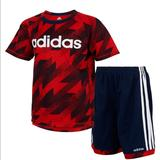 Adidas Matching Sets | Baby Boys 2-Pc. Printed T-Shirt & Shorts Set | Color: Blue/Red | Size: 12mb