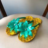 Kate Spade Shoes | Kate Spade Pineapple Flip Flops | Color: Green | Size: 7