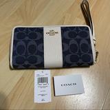 Coach Bags | Coach | Monogram Leather Wallet Logo Long Wallets | Color: White/Silver | Size: Os