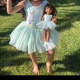 Disney Dresses | Disney Tinkerbell Tutu Dress + Matching Doll Dress | Color: Gray/White | Size: 5-6 Fits More Like 4-5