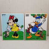 Disney Games | 2 Playskool Wooden Puzzles 8 Pc Donald Duck Minnie | Color: White/Silver | Size: Os