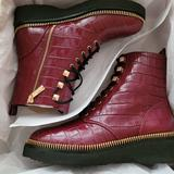 Michael Kors Shoes | New Michael Kors Haskell Crocodile Embossed Leather Combat Boot Dark Berry | Color: Gray/White | Size: 8.5