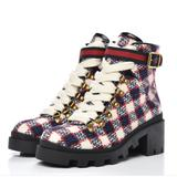 Gucci Shoes | Gucci Tweed Check Lace Up Combat Ankle Boots White Hibiscus Red Marine 36 | Color: Blue/White | Size: 6