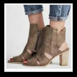 Free People Shoes | Free People Block Heel Sandal Boots Effie Leather | Color: Black/Brown | Size: 8