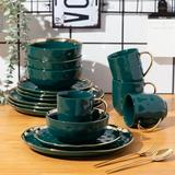 LOVECASA Alfred 16 Piece Dinnerware Set, Service For 4 Porcelain/Ceramic in Green   Wayfair RCAILC-GE-DS04