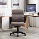 Latitude Run® Home Office Chair Fabric Chair w/ PP Arms Leather 360 Swivel Task Chair Upholstered in Black/Brown, Size 40.9 H x 19.6 W x 19.6 D in