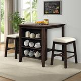 Red Barrel Studio® 3 Piece Dining Table w/ Storage Shelf Wood/Upholstered Chairs in Brown, Size 35.8 H in | Wayfair