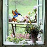 Red Barrel Studio® Hummingbird Stained Glass Window Hanging Suncatcher Decor Gift Size 5.5''×4.3'' in Blue, Size 5.5 H x 4.3 W x 0.0394 D in Wayfair