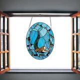 """Rosecliff Heights W10064 Mermaid Tiffany Style Stained Glass Window Panel w/ Chain, Oval Shape, 13""""W X 18"""" H in Blue 