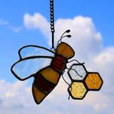 "Rosalind Wheeler Bee On Honeycomb Stained Glass Window Hangings, Bee Sun Catcher Garden Decor Gift For Mom,Friends 4.3""×3.5"" in Yellow | Wayfair"