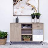 Corrigan Studio® Buffet Cabinet w/ Wooden Frame & 3 Drawers, White, Size 49.0 H in | Wayfair 1E4BE790C160405C9E136EF7BE266122