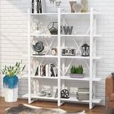 Latitude Run® Double Wide 5-Shelf Bookcase, Etagere Large Open Bookshelf Rustic Industrial Style Shelves Wood & Metal Bookcases in Black/White/Yellow
