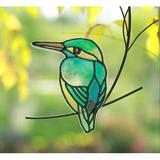 Red Barrel Studio® Suncatcher Bird Design Stained Glass Style Metal& Acrylic Window Hanging, Metal Bird Art Ornament in Blue | Wayfair