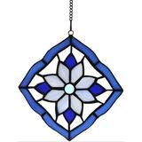 """Canora Grey Stained Glass Windows Hanging Suncatchers Flower, 6"""" X 6"""" in Blue, Size 6.0 H x 6.0 W x 0.0394 D in 