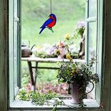 """The Holiday Aisle® Bird Stained Glass Window Hanging Suncatcher For Window Lovely Gift Christmas Decoration Gift For Mom,Friends 5.9 """"×3.1"""" in Blue"""