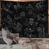 Trinx Constellation Stars Tapestry Wall Hanging, Black & White Tapestry, Aesthetic Wall Tapestry For Bedroom Living Room Dorm (Black in Blue Wayfair