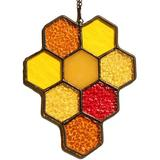 """Red Barrel Studio® Bee Honeycomb Stained Glass Window Hangings Sun Catcher Ornament Decoration Gift For Friends, Mom, Sister (, 6.1""""×4.7) in Yellow"""