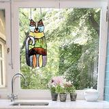 "Red Barrel Studio® 13"" H Crazy Cat Stained Glass Window Panel Suncatcher, Purple, Blue, Yellow, Size 13.0 H x 5.25 W x 0.0071 D in | Wayfair"