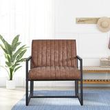 17 Stories Steel Armchair w/ PU Cushion in Brown, Size 29.0 H x 26.0 W x 26.0 D in   Wayfair 30E885D34BE74CF79685212E08E672F9