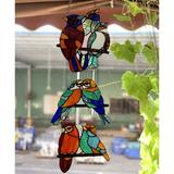 """Red Barrel Studio® W10060 Tropical Birds Tiffany Style Stained Glass Window Panel w/ 3 Pieces Hanging Successively Within Chains, 10"""" W X 39"""" H"""
