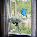 """Rosalind Wheeler Butterfly Suncatcher Stained Glass Window Hanging Christmas Decor,Glass Butterfly Gift For Mom 5.1""""×3.7"""" in Blue 