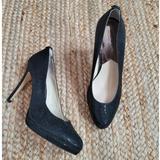 Michael Kors Shoes | Michael Kors Black Glitter Pump Heels Sz. 9.5 Stiletto Shoes Platform Round Toe | Color: Black | Size: 9.5