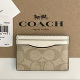 Coach Accessories | Coach Pvc Credit Card Case Wallet Signature Coach Design Nwt | Color: Cream/Tan | Size: Os