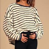 Free People Sweaters | Free People Breton Black And Ivory Striped Sherpa Pullover Sweatshirt. | Color: Black | Size: Xs