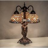 "Meyda Tiffany 23"" High Tiffany Fishscale 3 Light Table Lamp Glass/Metal in Indigo, Size 23.0 H x 18.0 W x 17.0 D in | Wayfair 245479"