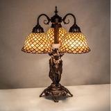 "Meyda Tiffany 23"" High Tiffany Fishscale 3 Light Table Lamp Glass/Metal in Indigo, Size 23.0 H x 19.0 W x 19.0 D in | Wayfair 245477"