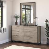 "Kathy Ireland Home by Bush Furniture Atria 6 Drawer 57"" W Double Dresser w/ Mirror in Brown, Size 80.0 H x 57.0 W x 17.0 D in | Wayfair ATR015MH"
