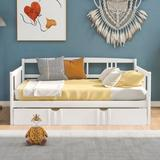 Red Barrel Studio® Full Size Daybed Wood Bed w/ Twin Size Trundle For Bed Room Wood in White, Size 34.0 H x 54.0 W x 78.6 D in | Wayfair
