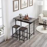 17 Stories 3 Pieces Rustic Kitchen Breakfast Bar Table Set,2 Person Table & Chair Set Pub Table & Chairs Set in Gray, Size 36.2 H in | Wayfair