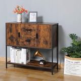 17 Stories Storage Cabinet w/ 2 Drawers & Doors & 1 Open Shelf, Industrial Floor Storage Cabinet, Accent Cabinet For Living Room, Bedroom, Kitchen
