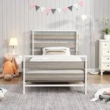 17 Stories Platform Bed Frame w/ Wooden Headboard Wood/Wood & Metal/Metal in Gray/White, Size 39.4 H x 39.4 W x 75.2 D in   Wayfair